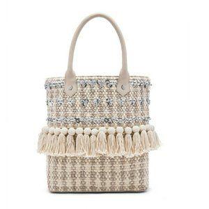 Sam Edelman Woven Tassel Tote Bag Shoulder Bag